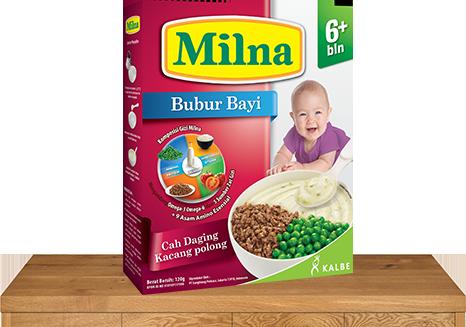 milna bubur bayi 6 bulan cah daging kacang polong